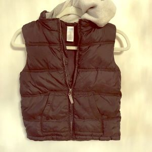 Gymboree Grey Puffer Vest with Hoodie
